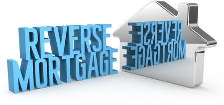 A mirror image of a house with the words reverse mortgage.