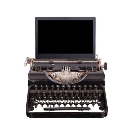 Typewriter with Laptop Screen